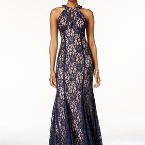 Nightway Lace Keyhole Halter Gown New
